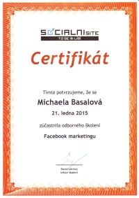 Certifikát o školení Facebook marketingu od Davida Lörincze